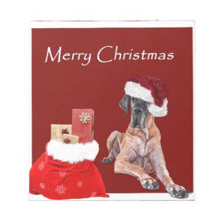 Christmas Dog Great Dane Notepad