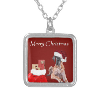 Christmas Dog Great Dane Silver Plated Necklace