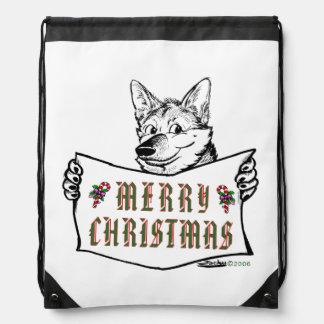 Christmas Dog:  Merry Christmas! Drawstring Bags