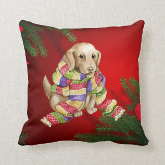 christmas dog rich red silk look pillow cushion