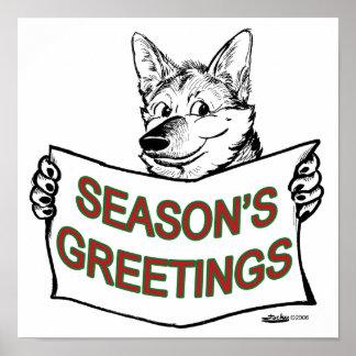 Christmas Dog:  Season's Greetings! Posters