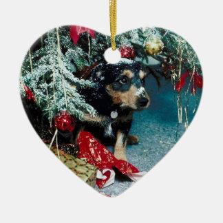 Christmas Dog Under Tree Ornament