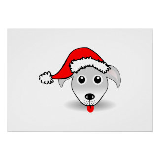 Christmas Dog Wearing Santa Hat Print
