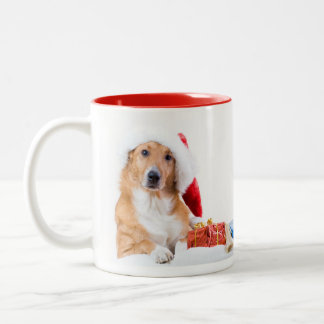 Christmas dog with antler and colorful gifts Two-Tone coffee mug