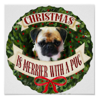 Christmas Dog Wreath. Personalized Pug dog breeds Poster