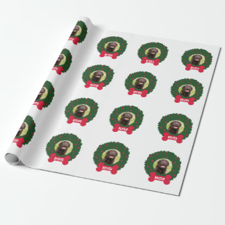 Christmas Dog Wreath with Dog's Photo Name Custom Wrapping Paper