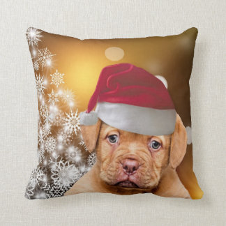 Christmas Dogue de Bordeaux throw pillow