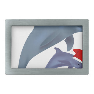 Christmas Dolphin Rectangular Belt Buckle