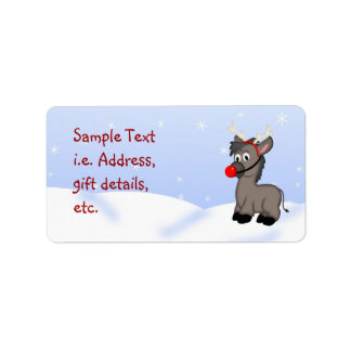 Christmas Donkey Festive Customizable Label