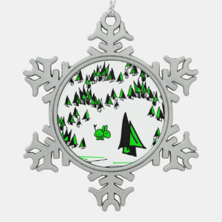 christmas donkey in forest snowflake pewter christmas ornament