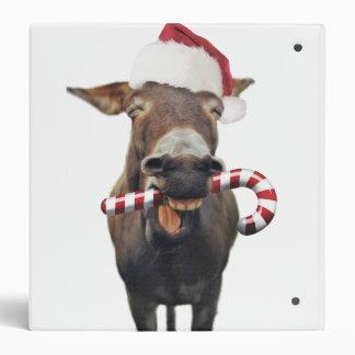 Christmas donkey - santa donkey - donkey santa 3 ring binder