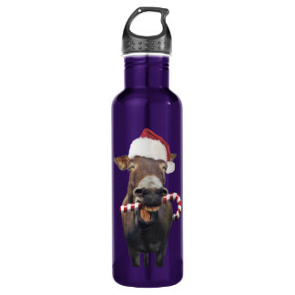 Christmas donkey - santa donkey - donkey santa 710 ml water bottle