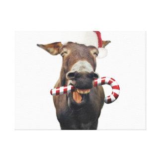 Christmas donkey - santa donkey - donkey santa canvas print
