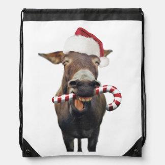 Christmas donkey - santa donkey - donkey santa drawstring bag