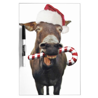 Christmas donkey - santa donkey - donkey santa dry erase board