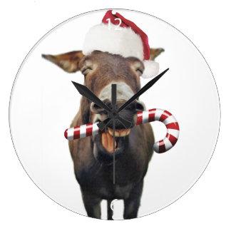 Christmas donkey - santa donkey - donkey santa large clock