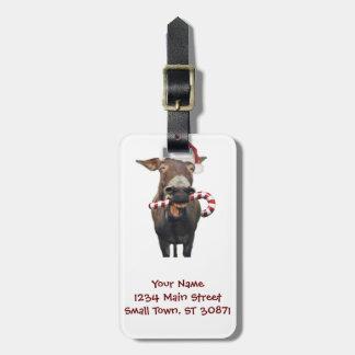 Christmas donkey - santa donkey - donkey santa luggage tag