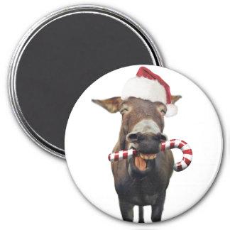 Christmas donkey - santa donkey - donkey santa magnet