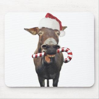 Christmas donkey - santa donkey - donkey santa mouse pad