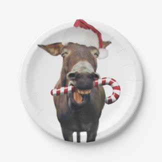Christmas donkey - santa donkey - donkey santa paper plate