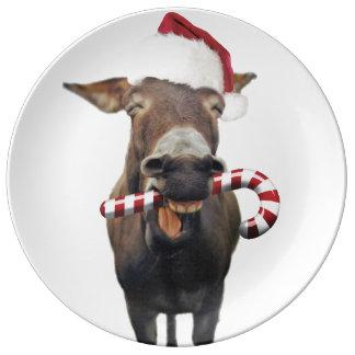 Christmas donkey - santa donkey - donkey santa plate