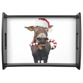 Christmas donkey - santa donkey - donkey santa serving tray