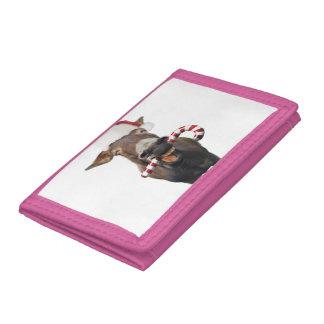 Christmas donkey - santa donkey - donkey santa trifold wallets
