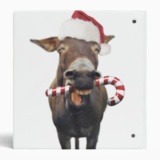 Christmas donkey - santa donkey - donkey santa vinyl binder