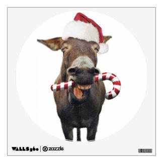 Christmas donkey - santa donkey - donkey santa wall decal