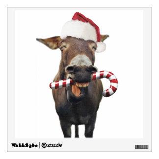 Christmas donkey - santa donkey - donkey santa wall sticker