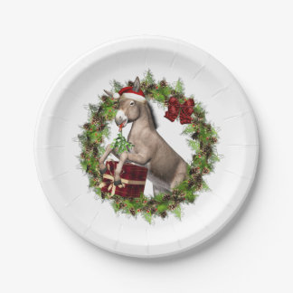 Christmas Donkey Santa Paper Plates