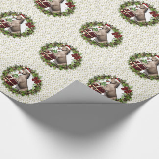 Christmas Donkey Santa Wreath Wrapping Paper
