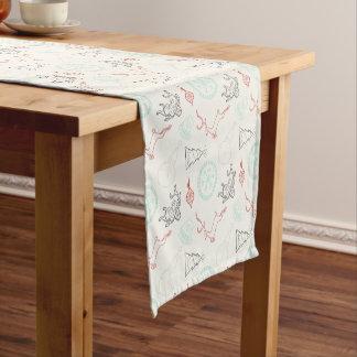 Christmas doodles deer snowflake pine trees patter short table runner