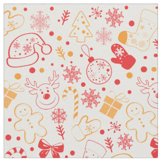 Christmas doodles pattern - Christmas gifts Fabric