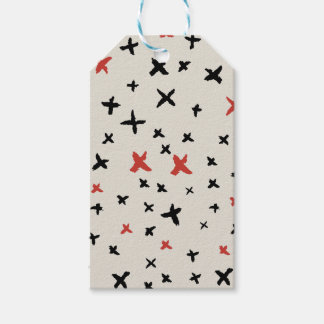 Christmas doodles red black cross pattern pack of gift tags
