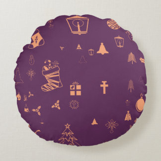 Christmas doodles round pillow