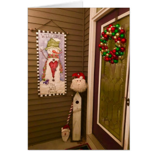 Christmas Door with Santa Claus and Wreath Card