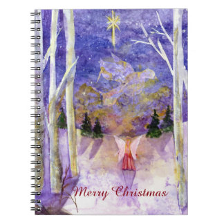 Christmas Dove Angel Watercolor Art Spiral Notebook