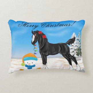Christmas Draft Foal and Snowman Decorative Pillow