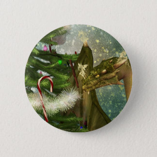 Christmas Dragon and Fairies 2 Inch Round Button