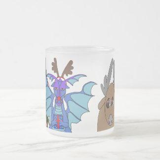 Christmas dragon and reindeer frosted mug