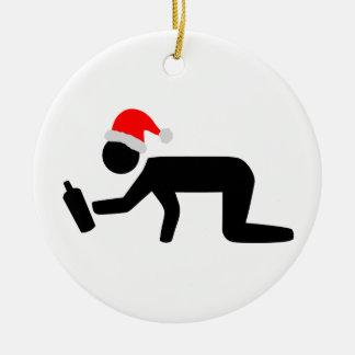 Christmas Drinker Ceramic Ornament