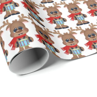 Christmas drumming reindeer wrapping paper
