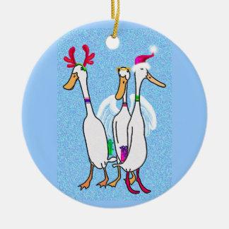 Christmas ducks ceramic ornament