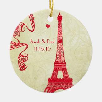 Christmas Eiffel Tower Round Ceramic Ornament
