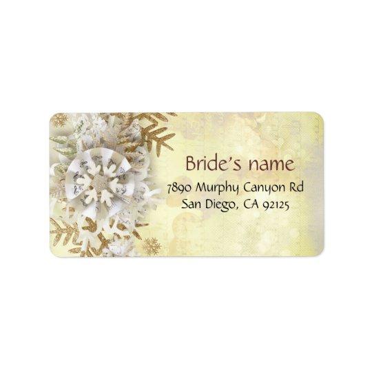 Christmas Elegant Gold Snowflakes Address Label