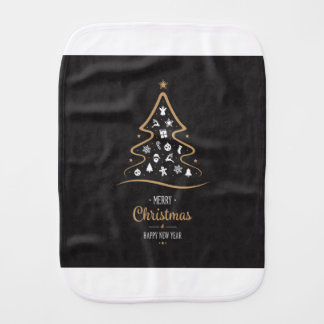 Christmas Elegant Premium Black Gold Burp Cloth