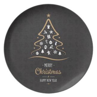 Christmas Elegant Premium Black Gold Dinner Plate
