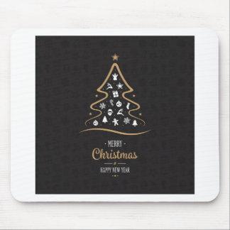 Christmas Elegant Premium Black Gold Mouse Pad