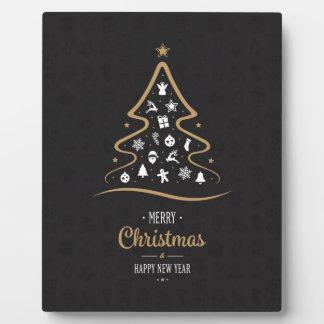 Christmas Elegant Premium Black Gold Plaque